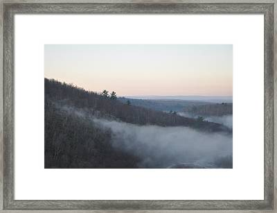 Mist Creeping Up The Mountain Framed Print