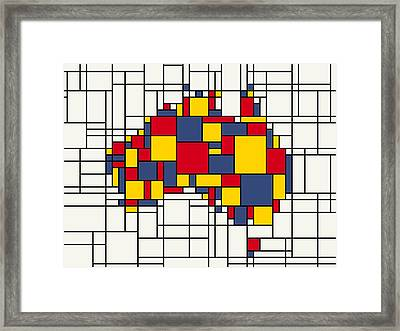 Mondrian Inspired Australia Map Framed Print by Michael Tompsett