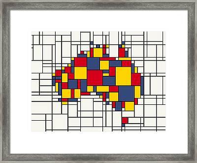 Mondrian Inspired Australia Map Framed Print