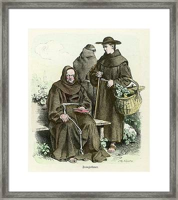 Monks Of The Order Of  Saint Francis Framed Print by Mary Evans Picture Library