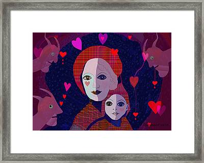 Mother Child Heart  - 638 Framed Print by Irmgard Schoendorf Welch