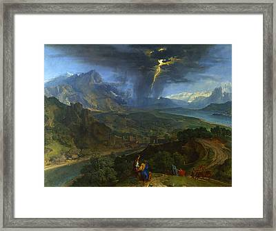 Mountain Landscape With Lightning Framed Print by Francisque Millet