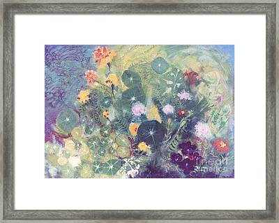 Nasturtiums And Marigolds Framed Print by Trudy Brodkin Storace