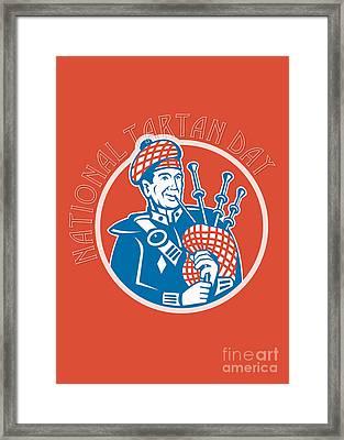 National Tartan Day Bagpiper Retro Greeting Card Framed Print