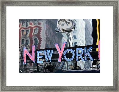 New York Neon Sign Framed Print