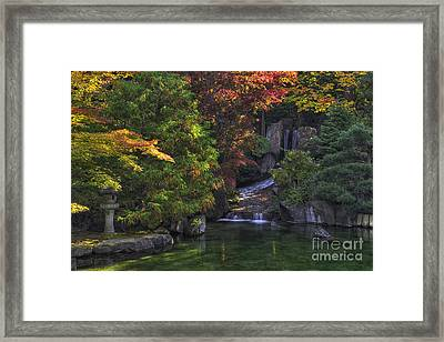 Nishinomiya Japanese Garden - Waterfall Framed Print by Mark Kiver