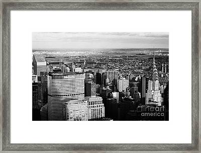 North East Towards East River Queens Bronx With Chrysler And Met Life Buildings New York City Framed Print by Joe Fox