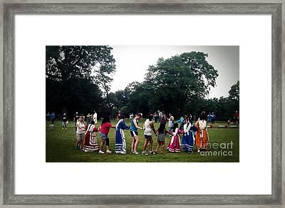 Oklahoma Choctaw Youth Dancing Framed Print by R McLellan