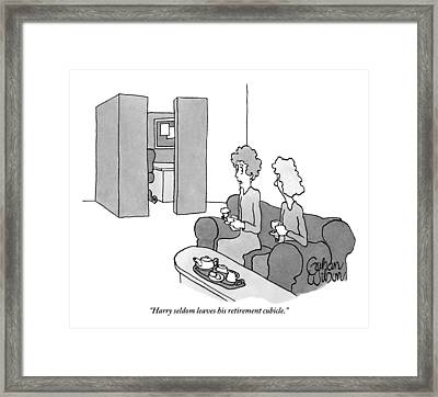 One Woman Says To Another While They Have Tea Framed Print