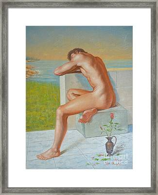Original Classic Oil Painting Man Body Art  Male Nude And Vase #16-2-4-09 Framed Print