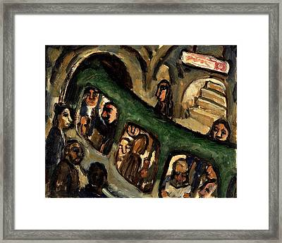 Original Oil Painting Little Metro Small Modern Oil Sketch Framed Print
