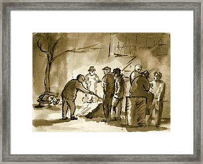 Original Pen And Ink Drawing Garbage Can Fire Framed Print