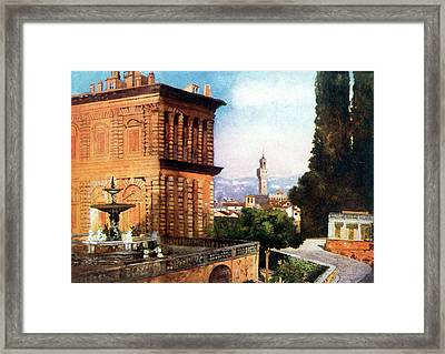 Palazzo Pitti  And Boboli Gardens Framed Print by Mary Evans Picture Library