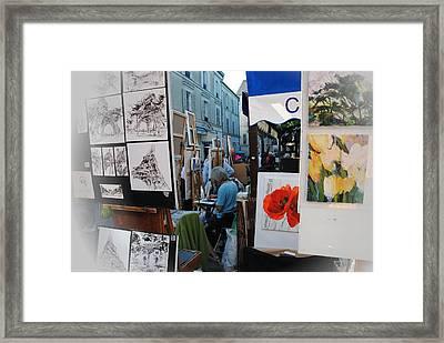 Paris Montmartre Place Du Tetre Framed Print by Jacqueline M Lewis