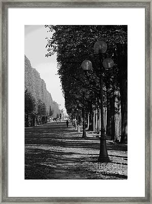 Paris - Peaceful Afternoon Bw Framed Print by Jacqueline M Lewis