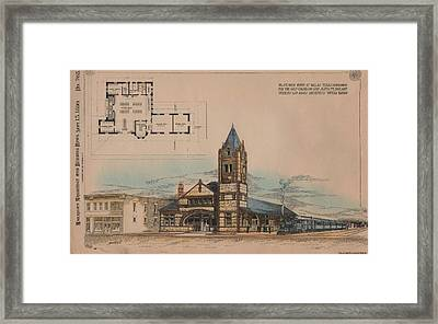 Passenger Depot For The Gulf Colorado And Santa Fe Railway In Dallas Texas Framed Print by  Perkins and Adams Architects