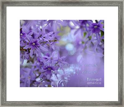 Peace Comes From Within Framed Print by Olga Hamilton