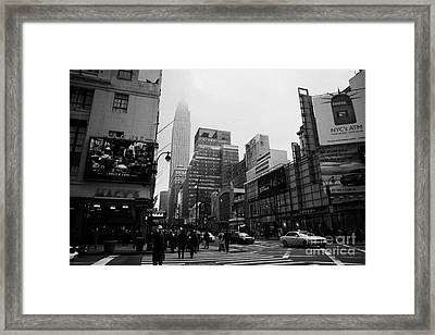 Pedestrians Crossing Crosswalk Outside Macys 7th Avenue And 34th Street Entrance New York City Framed Print by Joe Fox