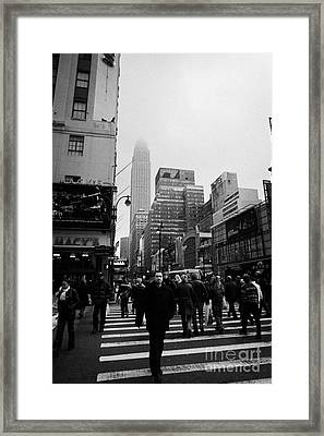Pedestrians Crossing Crosswalk Outside Macys 7th Avenue And 34th Street Entrance New York Winter Framed Print by Joe Fox