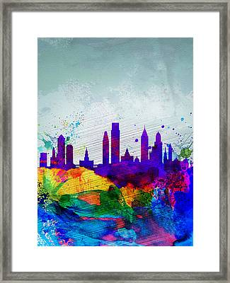 Philadelphia Watercolor Skyline Framed Print by Naxart Studio