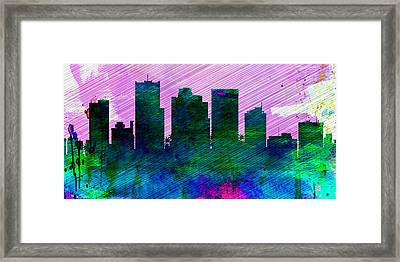 Phoenix City Skyline Framed Print by Naxart Studio