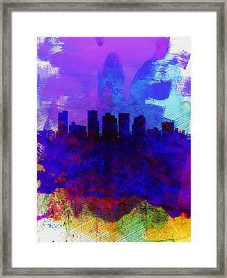 Phoenix Watercolor Skyline 1 Framed Print by Naxart Studio