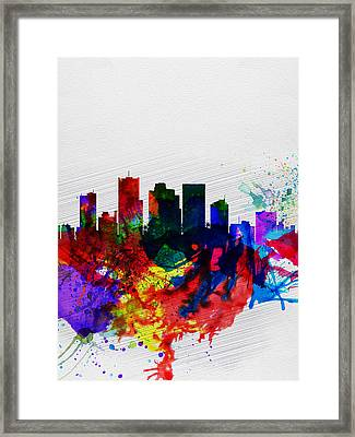 Phoenix Watercolor Skyline 2 Framed Print by Naxart Studio