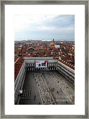 Piazza San Marco Aerial Framed Print by Jacqueline M Lewis