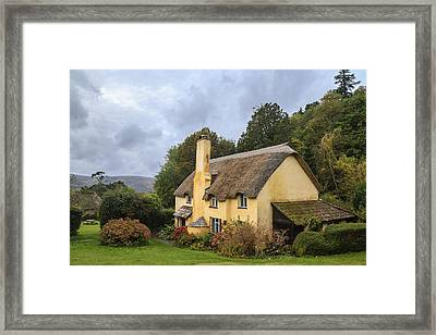 Picturesque Thatched Roof Cottage In Selworthy Framed Print