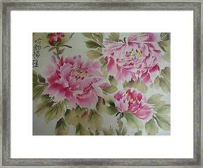 Pink  Peony 014 Framed Print by Dongling Sun
