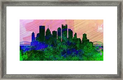 Pittsburgh City Skyline Framed Print by Naxart Studio