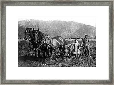 Plowing The Land C. 1890 Framed Print by Daniel Hagerman