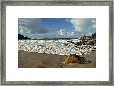 Porthmeor Cove In North Cornwall Framed Print
