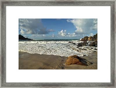 Porthmeor Cove In North Cornwall Framed Print