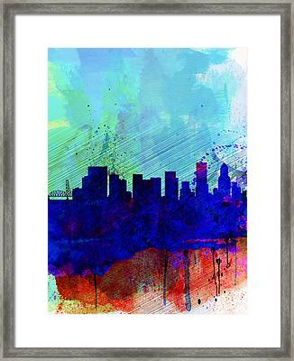 Portland Watercolor Skyline Framed Print by Naxart Studio