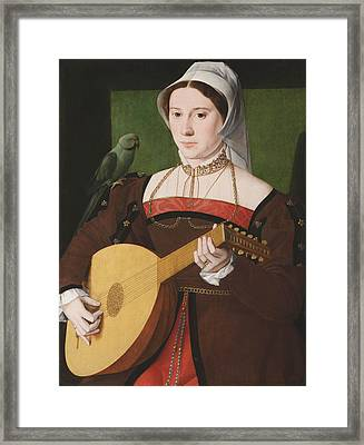 Portrait Of A Woman Playing A Lute Framed Print by Celestial Images