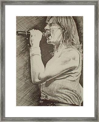Portrait Of Joe Elliott Framed Print by Chris Shepherd