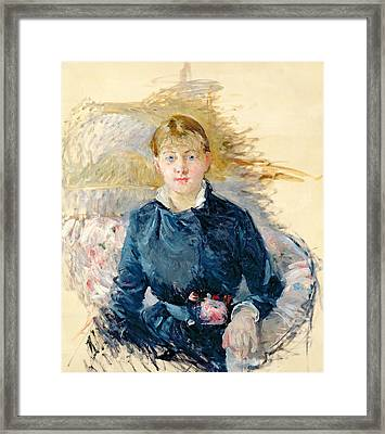 Portrait Of Louise Riesener Framed Print by Berthe Morisot