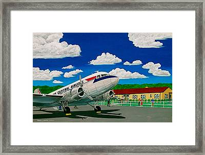 Portsmouth Ohio Airport And Lake Central Airlines Framed Print by Frank Hunter