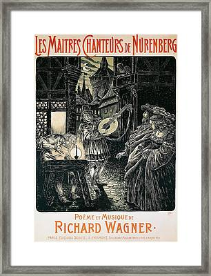 Poster Of The Mastersingers Of Nuremberg  Framed Print by Richard Wagner