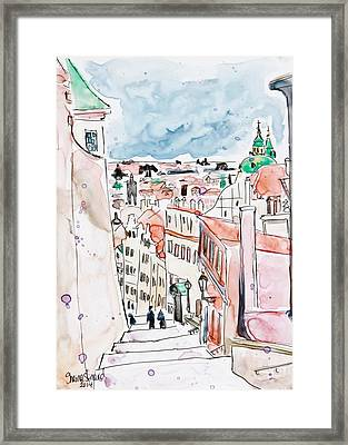 Prague Castle Steps Framed Print by Shaina Stinard