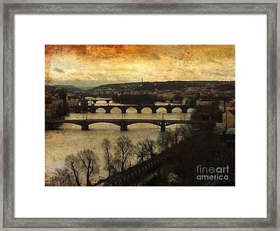 Vintage Prague Vltava River 1 Framed Print
