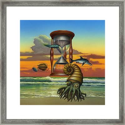 Prehistoric Animals - Beginning Of Time Beach Sunrise - Hourglass - Sea Creatures Square Format Framed Print by Walt Curlee