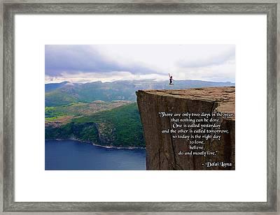 Preikestolen Pulpit Rock Norway Dalai Lama Quote  Framed Print