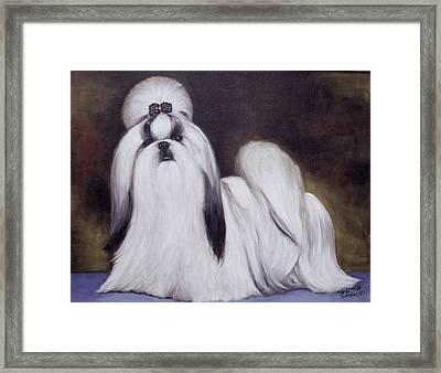 Framed Print featuring the painting  Pretty Showdog Shih Tzu by Melinda Saminski
