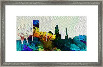Providence City Skyline Framed Print by Naxart Studio