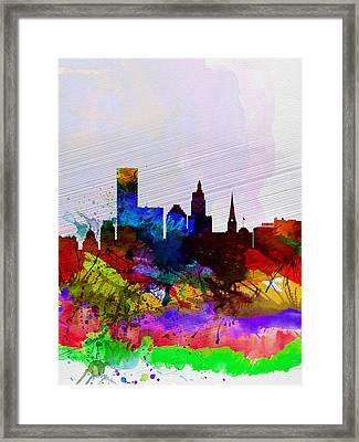 Providence Watercolor Skyline Framed Print