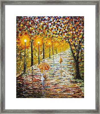 Rainy Autumn Beauty Original Palette Knife Painting Framed Print