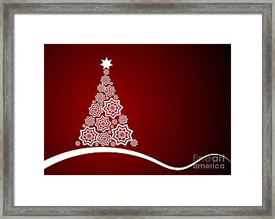 Red And White Christmas Card Framed Print