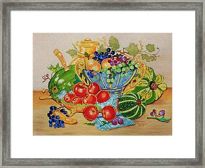 Red Apples And  Grapes Oil Painting Framed Print